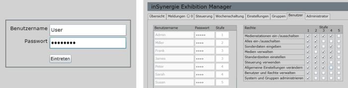 Screenshots: Login zum iSExhibitionManager und Benutzereinstellungen