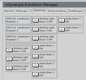 Screenshot der iSExhibitionManager Software: Licht-Steuerung