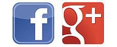 Logos: Facebook und Google+