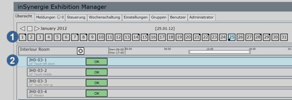Screenshot der iSExhibitionManager Software: Einstellungen für Ein- und Ausschalten der Exponate